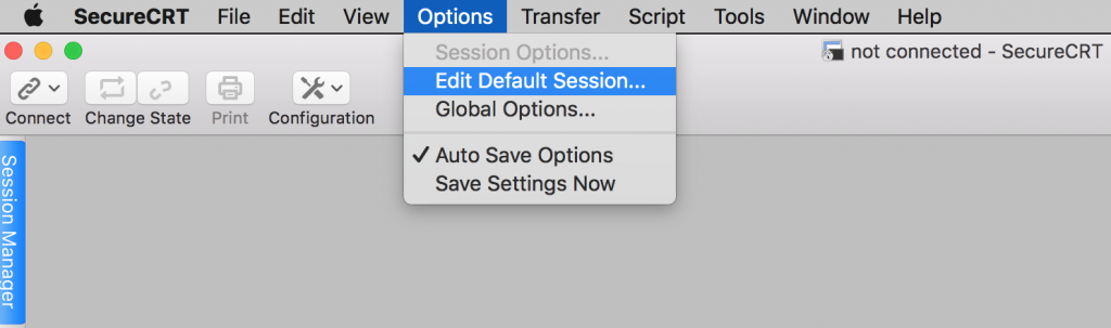 SecureCRT options edit default session