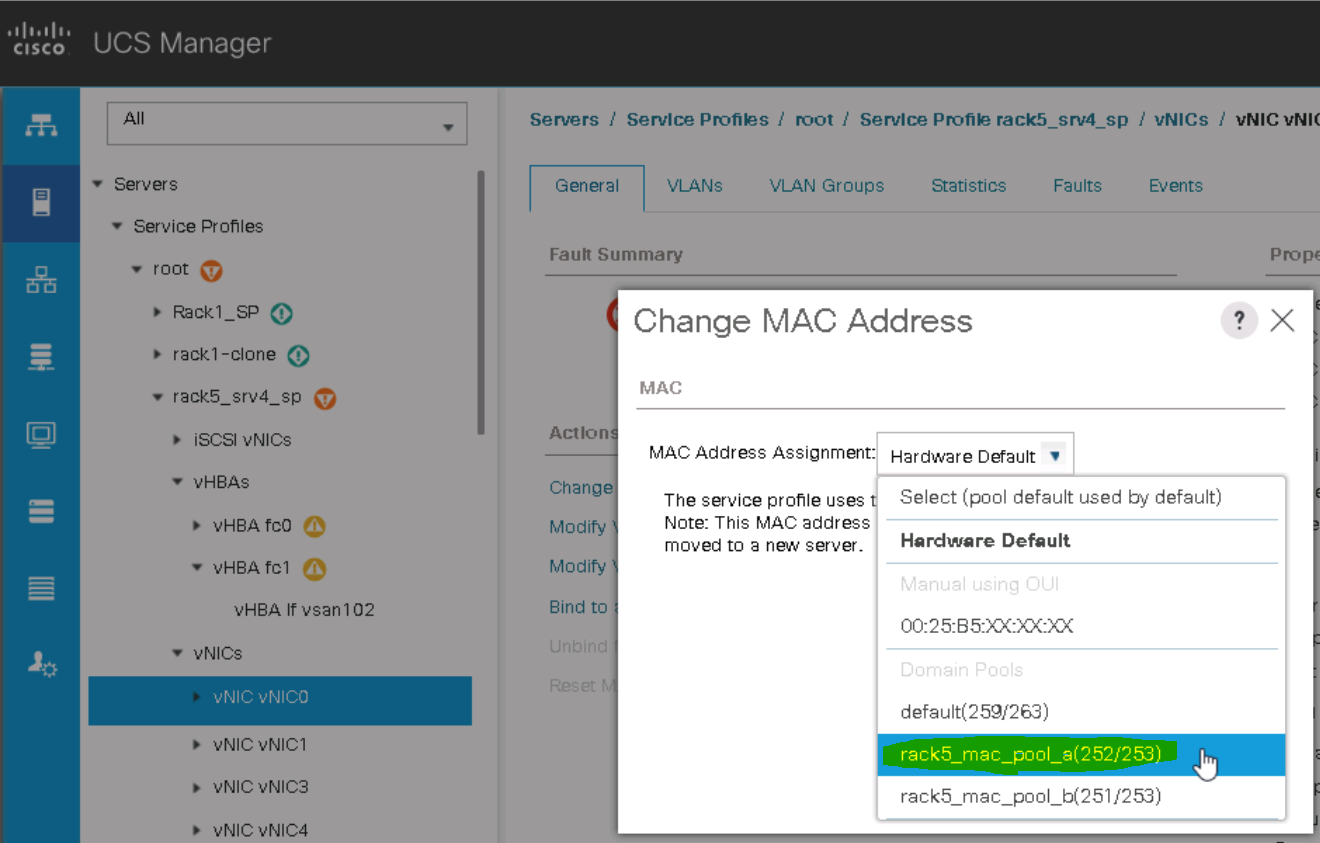 UCS Service Profile Change MAC Address - Pool Assignment