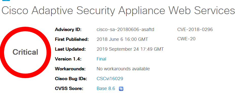 Cisco Adaptive Security Appliance Web Services Denial of Service Vulnerability